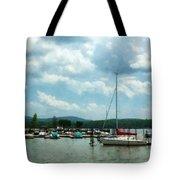 Boat - Sailboat At Dock Cold Springs Ny Tote Bag by Susan Savad