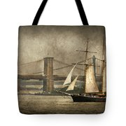 Boat - Sailing - Govenors Island Ny - Clipper City Tote Bag by Mike Savad
