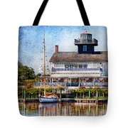 Boat - Tuckerton Seaport - Tuckerton Lighthouse Tote Bag by Mike Savad