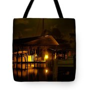 Boathouse Night Glow Tote Bag by Michael Thomas