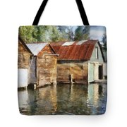 Boathouses on the Torch River ll Tote Bag by Michelle Calkins