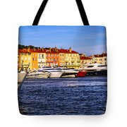 Boats at St.Tropez harbor Tote Bag by Elena Elisseeva