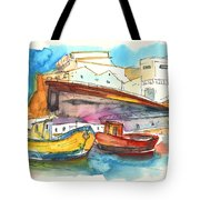 Boats In Ericeira In Portugal Tote Bag by Miki De Goodaboom