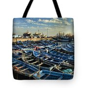 Boats In Essaouira Morocco Harbor Tote Bag by David Smith