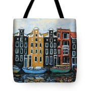 Boats In Front Of The Buildings Vi Tote Bag by Xueling Zou