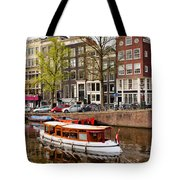 Boats On Canal In Amsterdam Tote Bag by Artur Bogacki