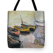 Boats on the Beach Tote Bag by Claude Monet