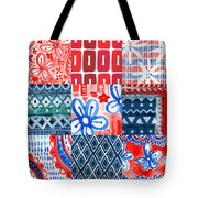 Boho Americana- Patchwork Painting Tote Bag by Linda Woods