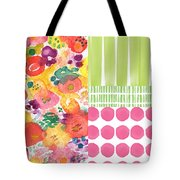 Boho Garden Patchwork- Floral Painting Tote Bag by Linda Woods