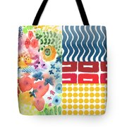 Bold Boho Patchwork- Abstract Art Tote Bag by Linda Woods