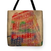 Book Cadillac Iconic Buildings of Detroit Watercolor on Worn Canvas Series Number 3 Tote Bag by Design Turnpike