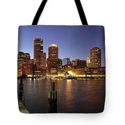 Boston Skyline and Fan Pier Tote Bag by Juergen Roth