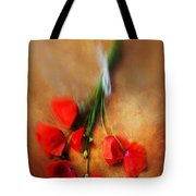 Bouquet Of Red Poppies And White Ribbon Tote Bag by Jaroslaw Blaminsky