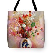 Bouquet Of Flowers In A Japanese Vase Tote Bag by Odilon Redon