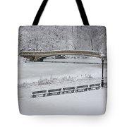 Bow Bridge Central Park Winter Wonderland Tote Bag by Susan Candelario