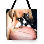 Boxer Puppy Cuteness Tote Bag by Peggy  Franz