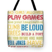 Boys Rules Tote Bag by Debbie DeWitt