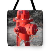 Brand New Red Hydrant On Bw Tote Bag by Jeff at JSJ Photography