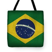 Brazil Flag Vintage Distressed Finish Tote Bag by Design Turnpike