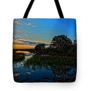 Break Of Dawn Over Low Country Marsh Tote Bag by Savlen Art