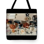 Breakfast With The Beatles - Skewed Perspective Series Tote Bag by Larry Preston