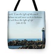 Breakwater Lighthouse Santa Cruz With Verse  Tote Bag by Barbara Snyder