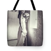 Bride at the Window. Black and White Tote Bag by Jenny Rainbow