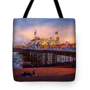 Brighton's Palace Pier At Dusk Tote Bag by Chris Lord