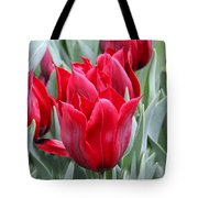 Brilliant Red Tulips in the Garden Tote Bag by Jennie Marie Schell