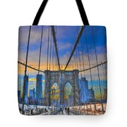 Brooklyn Bridge At Dusk Tote Bag by Randy Aveille