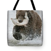 Brown Bear with Salmon catch Tote Bag by Gary Langley