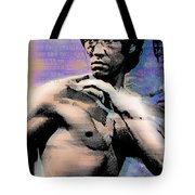 Bruce Lee And Quotes Tote Bag by Tony Rubino