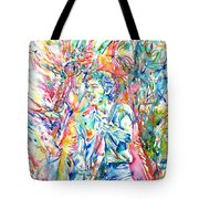 Bruce Springsteen And Clarence Clemons Watercolor Portrait Tote Bag by Fabrizio Cassetta