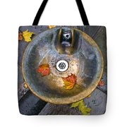 Bryant Park Fountain In Autumn Tote Bag by Gary Slawsky