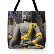 Buddha Figure In Kathmandu Nepal Tote Bag by Robert Preston