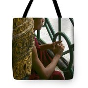 Buddhist Monk Leaning Against A Pillar Sule Pagoda Central Yangon Myanar Tote Bag by Ralph A  Ledergerber-Photography