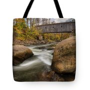 Bulls Bridge Autumn Square Tote Bag by Bill  Wakeley