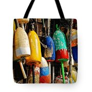 Buoys From Russell's Lobsters Tote Bag by Lois Bryan