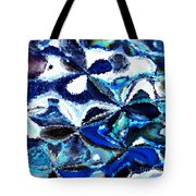 Bursts Of Blue And White - Abstract Art Tote Bag by Carol Groenen