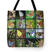 Butterflies Squares Collage Tote Bag by Carol Groenen
