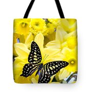 Butterfly Among The Daffodils Tote Bag by Edward Fielding