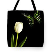 Butterfly And Tulip Tote Bag by Edward Fielding