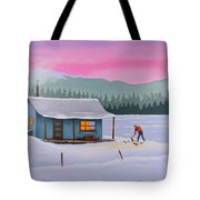 Cabin On A Frozen Lake Tote Bag by Gary Giacomelli