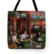 Cafe - Hoboken Nj - A Day Out  Tote Bag by Mike Savad