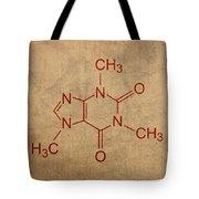 Caffeine Molecule Coffee Fanatic Humor Art Poster Tote Bag by Design Turnpike