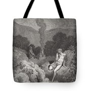 Cain And Abel Offering Their Sacrifices Tote Bag by Gustave Dore