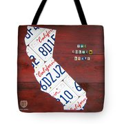 California License Plate Map Tote Bag by Design Turnpike