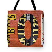 California State Name In License Plates Art Tote Bag by Design Turnpike