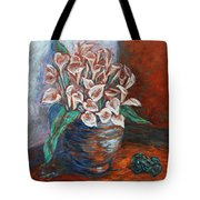 Calla Lilies and Frog Tote Bag by Xueling Zou