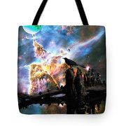 Calling The Night - Crow Art By Sharon Cummings Tote Bag by Sharon Cummings